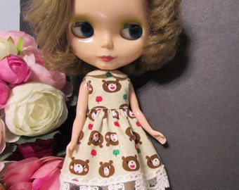 Blythe Doll Outfit Bear Print Lace Dress