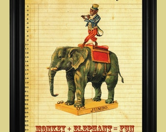 Circus Elephant Poster, Performing Circus Monkey Poster, Funny Monkey Riding an Elephant Illustration, Vintage Circus Art Print