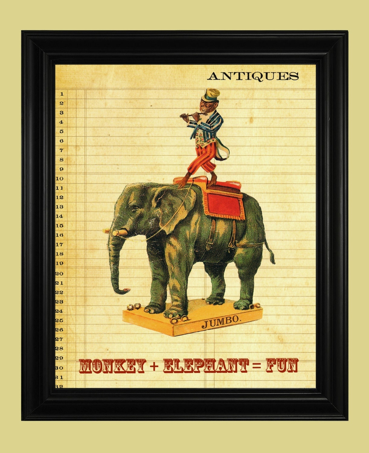 circus elephant poster performing circus monkey poster funny