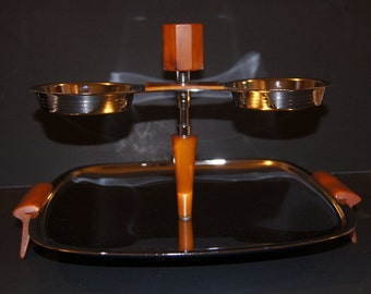 Glo Hill Butterscotch Bakelite serving tray extrodinaire