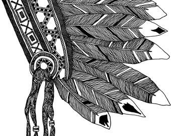 Native American Headdress Print
