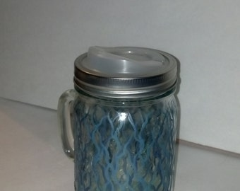 Hand Painted Mason Jar Mug, Shades of Teal, 24 oz., Gift Set, Cuppow Lid Included