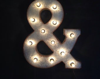 """Large metal ampersand """"&"""" with lights"""