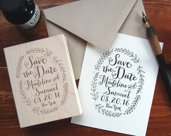 Save the Date Stamp #3 - Calligraphy - Wreath - Personalized