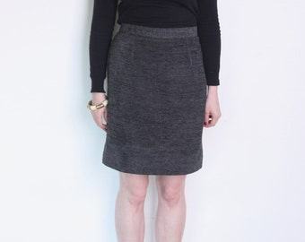 90's gray and black woven pencil skirt, dark gray black high waisted skirt, office secretary skirt