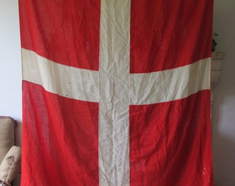 Vintage Nautical Denmark Yacht Flag Red cross scandinavian decor 5 X 7 FT
