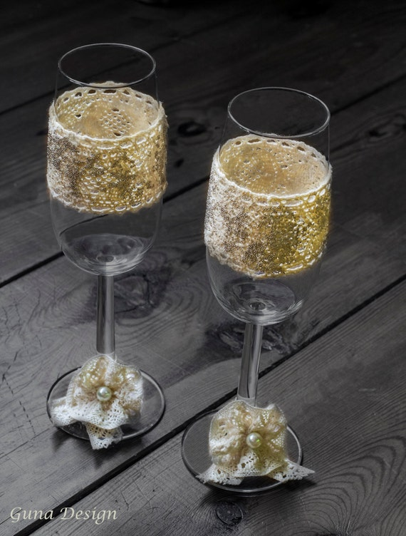 Countryside Wedding Champagne Glasses with Lace and Tinny Beads
