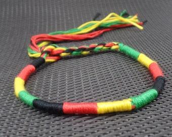 Handmade Rasta Bracelet- Rasta Colors Flag