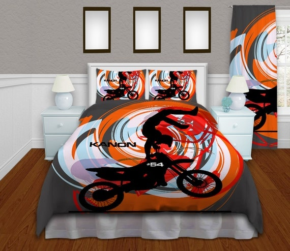 Orange Motocross Duvet Cover Kids Bedding By