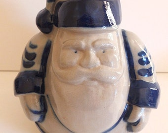 1993 Signed ELDRETH Pottery Santa Vintage Christmas Decor Cobalt Blue