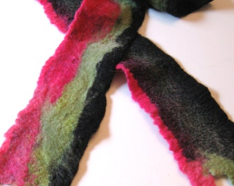 Felted Scarves, Felted wool and Silk Scarf, Long and Bright Tri-Color Felted Scarf, Handmade Hand Felted Scarves For Her, Double Sided.