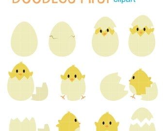 Hatching Happy Chick Digital Clip Art for Scrapbooking Card Making Cupcake Toppers Paper Crafts