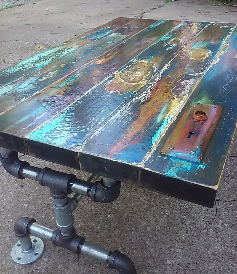colorfully painted patina reclaimed wood coffee by trashstudio : ilfullxfull770672685smvf from etsy.com size 960 x 1112 jpeg 340kB
