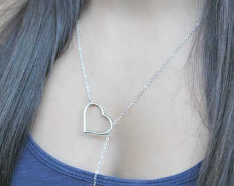 Antique silver lariat hearts necklace special gift