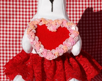 Stuffed Cat with Heart Red Toy Gift Textile Toy Stuffed Animal Stuffed Heart Valentine Gift Soft Toy Cat Soft Sculpture Valentine's Gift