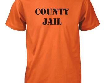 Men's County Jail Funny Orange T-Shirt Prison Inmate Tee