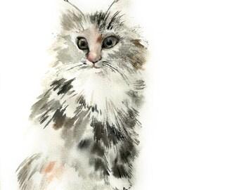 Original Watercolor Painting, Kitten Painting, Grey Cat Watercolour