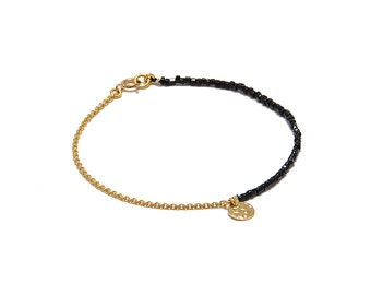 Bracelet « Pampille » Jet, gold-filled