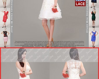 White Lace Dress - Wedding Rehearsal Dress - White Lace Dress with Tulle Hem - Lace Peplum Dress - Black Lace Dress - D311