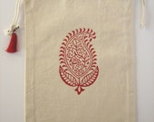 Red Paisley. Bag of organic cotton, silk tassel, bell and Om. Medium or Large Size