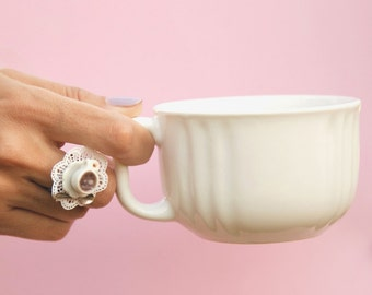 Cafe au Lait - French Coffee Ring  / Teacup Ring / Cup Ring / Plate / Polymer Clay ring / Coffee Ring / Handmade / Food jewelry