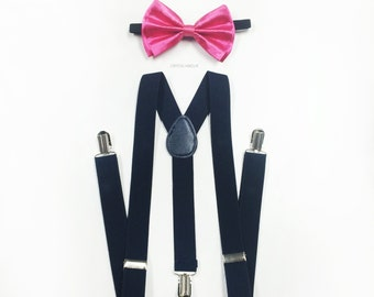 bright pink bowtie, navy blue suspenders, suspenders, bow tie men, bowtie suspenders, men suspenders [hot pink bow tie | navy suspenders]