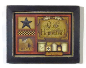Primitive Home Decor, 'Olde Homestead', Primitive Art Print, Country Decor, Wall Hanging, Handmade, 19x15, Custom Wood Frame, Made in USA