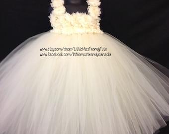 Ivory Flower Girl Tutu Dress, Ivory Flower Tutu Dress, Ivory Tutu Dress, Flower Girl Dress Ivory, Girls Cream Tutu Dress, Couture Tutu Dress