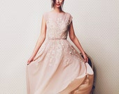 Coffee shade non-corset wedding dress of with lace decoration