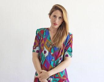 Vintage 80s Shirt Dress/ Multicolor Oversized Dress/ Plus Size Midi Dress XL