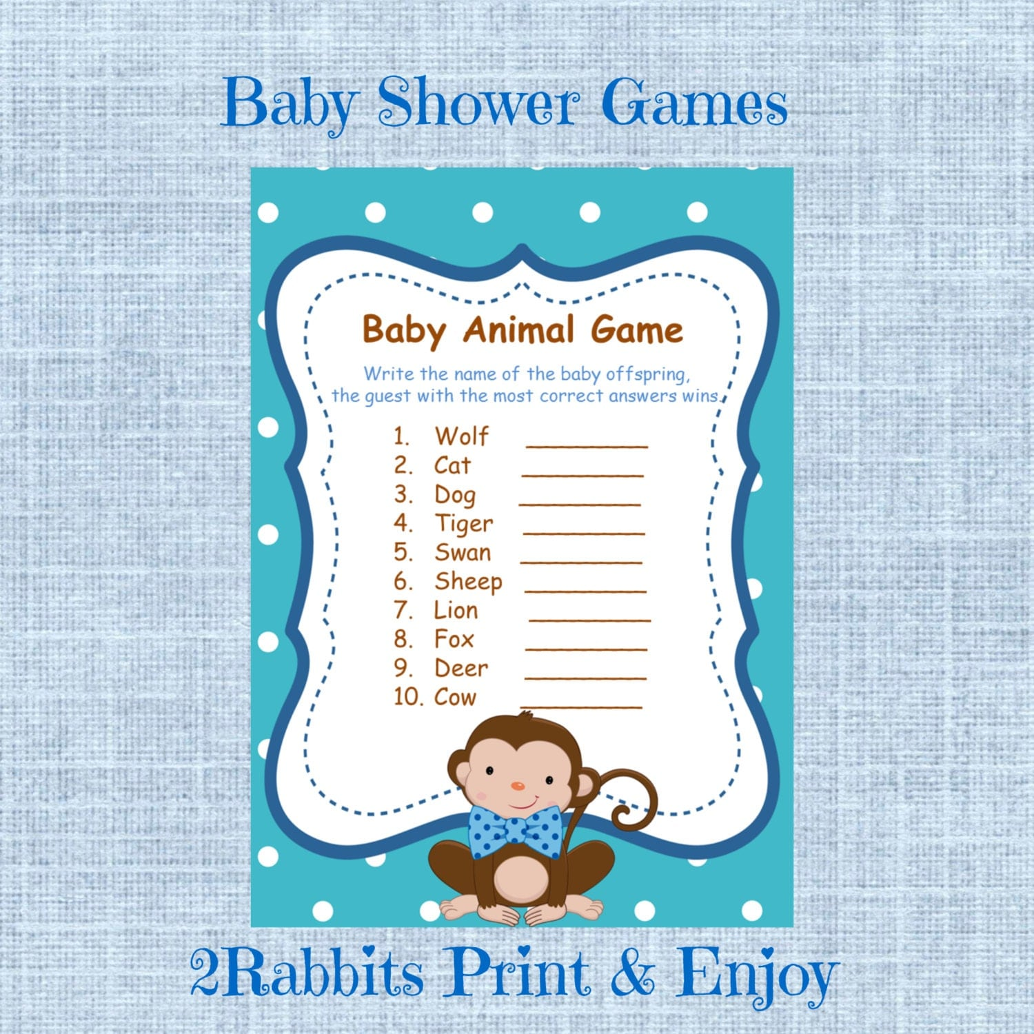 Baby Shower Game Name The Baby Animal: Monkey Little Man Baby Shower Baby Animal Name Game Name The