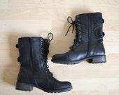 Vintage Black Tall Lace Up Combat Boots Size 9.5  / UK 7 / EU 40