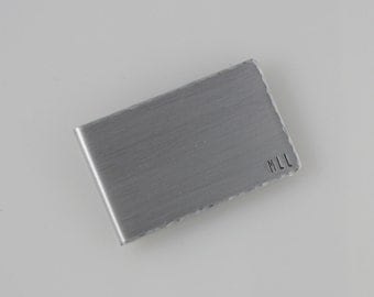 Money Clip, Aluminum Money Clip, Gift for Guy, Initial Monogram Moneyclip