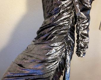 FREE  SHIPPING   Metallic Wiggle Gown