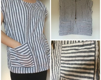 Linen T-Shirt - Striped - Loose Fit - Pockets - Misses Country