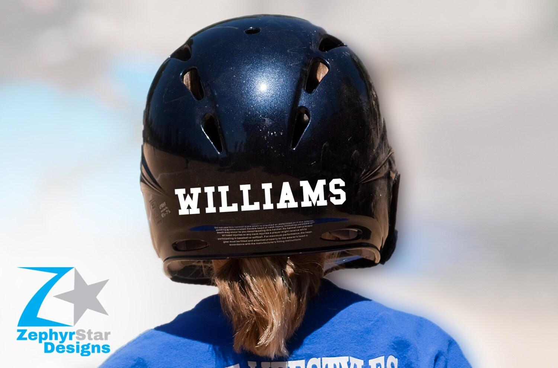 Back of Helmet Last Name Decal Sports Softball Baseball