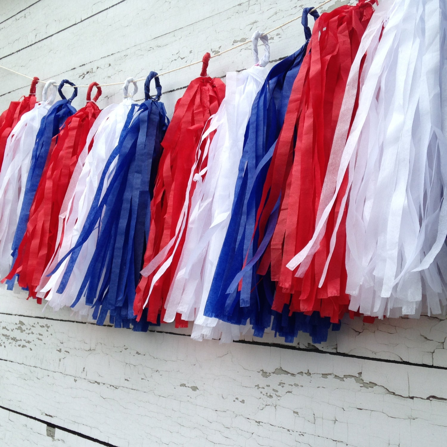 4th of july garland tassel garland red white and blue and - Red white blue decorations ...