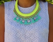 Sale! Braided Tassel Necklace - Neon Yellow Necklace - Turquoise chunky collar - Fashion Necklace