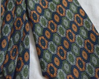 70s tie Mens neck tie Green orange retro pattern tie wide woven tie Terylene hipster Made in Switzerland mod funky groovy tie gift for him