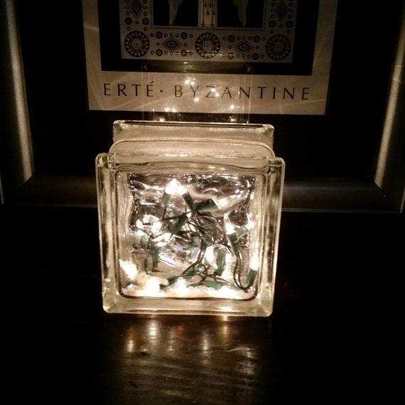 String Lights For Glass Blocks : Art Deco Block Glass White String Lighting