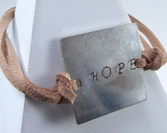 """Hand Stamped Leather Bracelet """"HOPE"""" - Price Reduced - Discontinued Item!"""