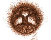 Kunstdruck einer Aquarellzeichnung  - Tree of Life... and a Heart! (21 x 30 cm), rot-braune Farb-Variante