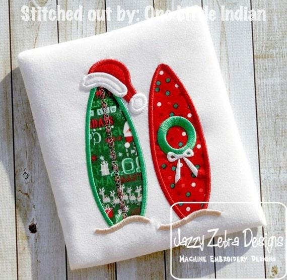 Surf Board Christmas Appliqué embroidery Design - Christmas Appliqué Design - surfing Appliqué Design - beach Appliqué Design - surf board