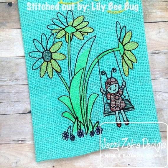 Lady Bug Girl with Flowers on Swing Sketch Embroidery Design - flowers Sketch Embroidery Design - ladybug Sketch Embroidery Design