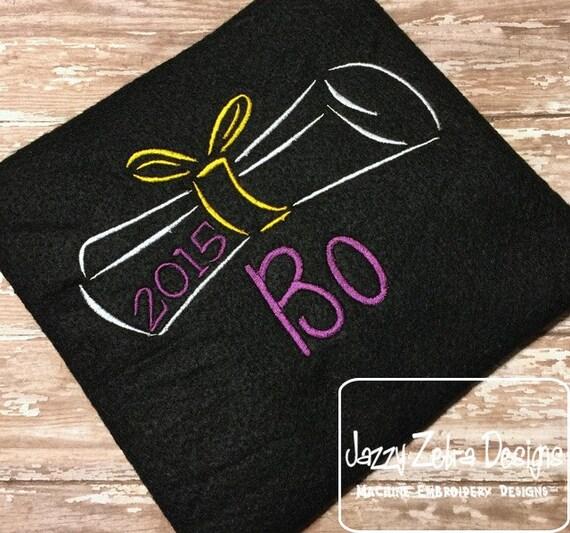 Satin Stitch Diploma Embroidery Design - graduation Embroidery Design - graduate Embroidery Design - school Embroidery Design