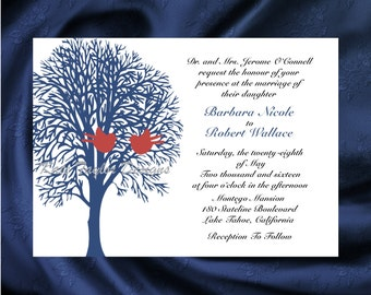 Tree Bird Wedding Invitation & RSVP - Tree Love Birds Wedding Invitations - Tree Invitations - Tree Design 9