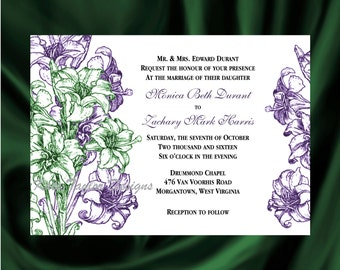 Gladiola Flower Wedding Invitation & RSVP  - Floral Wedding Invitation and RSVP -  Gladiolas - Flower Design 32