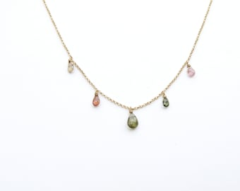 Multi Tourmaline briolettes necklace gold