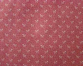 """Vintage Ivory """"Wheat"""" Calico Print Dusty Rose Fabric by the Piece - 1 yard and 5 inches  x 44 inches wide"""
