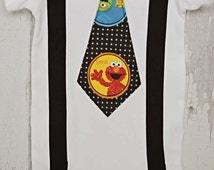 ELMO/ SESAME Street  / Black suspenders with  ELMO /  First Birthday Onesie/ Photo Prop/ Made to Order/ Just Becuase I am Special